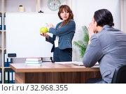 Купить «Man and woman in business meeting concept», фото № 32968355, снято 16 апреля 2019 г. (c) Elnur / Фотобанк Лори