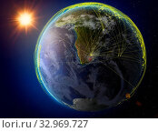 Lesotho from space. Planet Earth with network representing international communication, technology and travel. 3D illustration. Elements of this image furnished by NASA. Стоковое фото, фотограф Zoonar.com/Tomas Griger / easy Fotostock / Фотобанк Лори