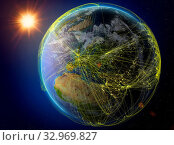 Moldova from space. Planet Earth with network representing international communication, technology and travel. 3D illustration. Elements of this image furnished by NASA. Стоковое фото, фотограф Zoonar.com/Tomas Griger / easy Fotostock / Фотобанк Лори