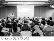 Купить «Business speaker giving a talk at business conference event.», фото № 32973543, снято 7 сентября 2016 г. (c) Matej Kastelic / Фотобанк Лори