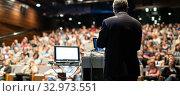 Купить «Public speaker giving talk at Business Event.», фото № 32973551, снято 8 сентября 2016 г. (c) Matej Kastelic / Фотобанк Лори