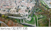 Купить «Aerial view of Pamplona medieval town with fortification in Navarre, Spain», видеоролик № 32977135, снято 23 декабря 2018 г. (c) Яков Филимонов / Фотобанк Лори