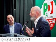 Купить «Secreatry of Democratic party Nicola Zingaretti (L) Stefano Bonaccini, candidate of the center-left for the presidency of Emilia Romagna at the closer...», фото № 32977871, снято 23 января 2020 г. (c) age Fotostock / Фотобанк Лори