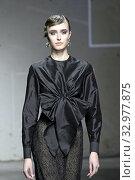 Купить «Fashion show by Morfosis, model on catwalk at AltaRoma 2020, Rome, ITALY-24-01-2020.», фото № 32977875, снято 24 января 2020 г. (c) age Fotostock / Фотобанк Лори