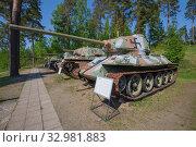 Купить «Советский трофейный танк Т-34-85 в окраске финской армии в музее бронетехники города Парола. Финляндия», фото № 32981883, снято 10 июня 2017 г. (c) Виктор Карасев / Фотобанк Лори