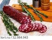 Купить «Uncooked smoked semi-dry sausage Braunschweig», фото № 32984943, снято 22 февраля 2020 г. (c) Яков Филимонов / Фотобанк Лори