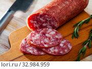 Купить «Spanish dry cured pork sausage Salchichon», фото № 32984959, снято 22 февраля 2020 г. (c) Яков Филимонов / Фотобанк Лори
