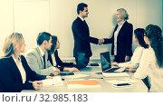 Купить «Business handshake at negotiations», фото № 32985183, снято 25 мая 2020 г. (c) Татьяна Яцевич / Фотобанк Лори