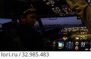 Купить «Civil aircraft cockpit.», видеоролик № 32985483, снято 10 апреля 2019 г. (c) Игорь Жоров / Фотобанк Лори