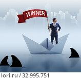 Купить «Businessman riding paper boat ship in winning concept», фото № 32995751, снято 31 марта 2020 г. (c) Elnur / Фотобанк Лори