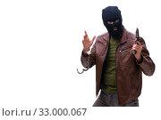 Купить «Robber wearing balaclava isolated on white background», фото № 33000067, снято 17 мая 2019 г. (c) Elnur / Фотобанк Лори