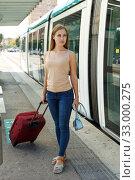 Купить «Woman leaving subway train», фото № 33000275, снято 19 сентября 2018 г. (c) Яков Филимонов / Фотобанк Лори