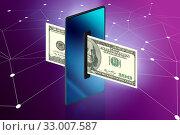 Купить «Concept of mobile wallet transfers - 3d rendering», фото № 33007587, снято 28 февраля 2020 г. (c) Elnur / Фотобанк Лори