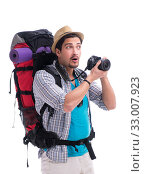 Backpacker with camera isolated on white background. Стоковое фото, фотограф Elnur / Фотобанк Лори