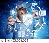 Купить «Man in artificial intelligence concept», фото № 33008059, снято 16 февраля 2020 г. (c) Elnur / Фотобанк Лори