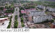 Купить «Aerial panoramic view of modern cityscape of Ozyory overlooking Orthodox Holy Trinity Church, Russia», видеоролик № 33013491, снято 13 мая 2019 г. (c) Яков Филимонов / Фотобанк Лори
