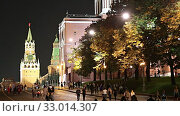 Купить «Moscow Kremlin and tourists, Russia (at night).», видеоролик № 33014307, снято 31 января 2020 г. (c) Владимир Журавлев / Фотобанк Лори