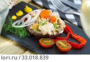 Купить «Appetizing salad with chicken on eggplant», фото № 33018839, снято 26 февраля 2020 г. (c) Яков Филимонов / Фотобанк Лори
