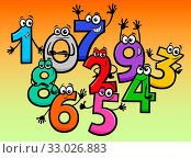 Educational Cartoon Illustrations of Happy Basic Numbers Characters Group. Стоковое фото, фотограф Zoonar.com/Igor Zakowski / easy Fotostock / Фотобанк Лори