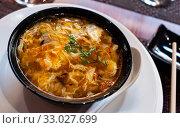 Купить «Bowl of tasty soup agripicante. Japanese cuisine», фото № 33027699, снято 21 февраля 2020 г. (c) Яков Филимонов / Фотобанк Лори