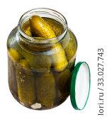 Купить «Marinated cucumbers in glass jar», фото № 33027743, снято 22 февраля 2020 г. (c) Яков Филимонов / Фотобанк Лори