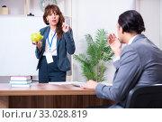 Купить «Man and woman in business meeting concept», фото № 33028819, снято 16 апреля 2019 г. (c) Elnur / Фотобанк Лори