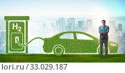 Hydrogen car concept in ecological transportation concept. Стоковое фото, фотограф Elnur / Фотобанк Лори