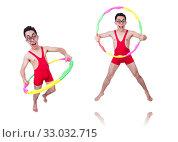 Купить «Funny sportsman with hula hoop on white», фото № 33032715, снято 13 мая 2013 г. (c) Elnur / Фотобанк Лори