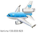Купить «Cartoon Commercial Airplane», иллюстрация № 33033923 (c) Александр Володин / Фотобанк Лори