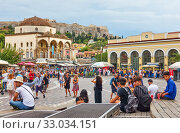 Купить «People in Monastiraki Square in Athens», фото № 33034151, снято 20 сентября 2019 г. (c) Роман Сигаев / Фотобанк Лори