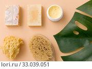 Купить «natural soap, brush, sponge and body butter», фото № 33039051, снято 8 ноября 2018 г. (c) Syda Productions / Фотобанк Лори