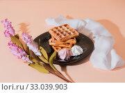 Купить «Sweet delicious dessert, homemade baked goods for breakfast. Belgian European soft waffles on a black plate and meringue», фото № 33039903, снято 30 ноября 2019 г. (c) Светлана Евграфова / Фотобанк Лори