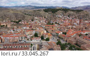 Купить «High view of Calatayud and buildings at sunny day, Province of Zaragoza, Spain», видеоролик № 33045267, снято 21 июня 2019 г. (c) Яков Филимонов / Фотобанк Лори