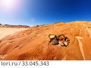 Moqui marbles -sand cemented sand by sun in desert (2015 год). Стоковое фото, фотограф Сергей Новиков / Фотобанк Лори