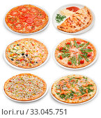 The six plates with a popular italian pizzas. Стоковое фото, фотограф Алексей Хромушин / Фотобанк Лори