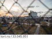 Купить «Санкт-Петербург. Спортивно-концертный комплекс (СКК) после обрушения.», фото № 33045951, снято 4 февраля 2020 г. (c) Евгений Кашпирев / Фотобанк Лори