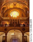 Rosette und Orgel in der roemisch-katholischen Kirche Santa Maria dels Àngels, Pollenca, Mallorca, Balearen, Spanien, Europa. Стоковое фото, фотограф Zoonar.com/Stefan Ziese / age Fotostock / Фотобанк Лори