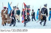 Купить «Russia, Samara, February 2017: Russian soldiers of the Patriotic War of 1812. Historical reconstruction.», фото № 33050859, снято 23 февраля 2017 г. (c) Акиньшин Владимир / Фотобанк Лори