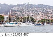 Купить «Sailing yachts moored in marina. Madeira landscape», фото № 33051487, снято 24 августа 2017 г. (c) EugeneSergeev / Фотобанк Лори