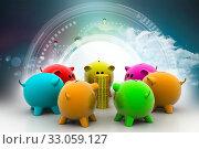 Купить «Group of piggybanks around with gold coins», фото № 33059127, снято 27 мая 2020 г. (c) easy Fotostock / Фотобанк Лори