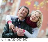 Купить «Mature loving couple in spring park», фото № 33067867, снято 19 февраля 2020 г. (c) Яков Филимонов / Фотобанк Лори