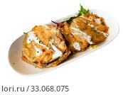 Купить «Battered eggplant slices with yogurt sauce», фото № 33068075, снято 20 февраля 2020 г. (c) Яков Филимонов / Фотобанк Лори