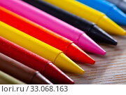 Купить «Multicolored wax chalks», фото № 33068163, снято 25 февраля 2020 г. (c) Яков Филимонов / Фотобанк Лори
