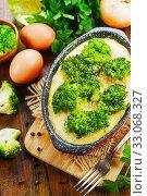 Купить «Casserole with broccoli and eggs», фото № 33068327, снято 27 ноября 2019 г. (c) Надежда Мишкова / Фотобанк Лори