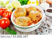 Купить «Stuffed paprika with meat», фото № 33068347, снято 1 августа 2019 г. (c) Надежда Мишкова / Фотобанк Лори