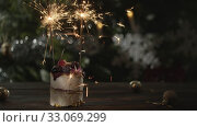 Купить «Christmas cake with sparklers», видеоролик № 33069299, снято 3 июня 2020 г. (c) Данил Руденко / Фотобанк Лори