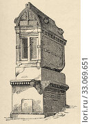 Купить «Rupestrian sarcophagus, necropolis Antique city of Mira in Lycia, Kale Demre. Turkey. Old engraving illustration from the book Universal history by Oscar Jager 1890.», фото № 33069651, снято 27 января 2020 г. (c) age Fotostock / Фотобанк Лори