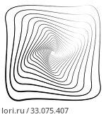 Купить «Abstract 3D background with simple geometric figure. Rotated square stylized design elements isolated on white. Vector», фото № 33075407, снято 13 июля 2020 г. (c) Dmitry Domashenko / Фотобанк Лори