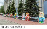 Купить «Matryoshka for the World Cup in Russia, Samara», фото № 33079611, снято 21 мая 2019 г. (c) Дмитрий Тищенко / Фотобанк Лори