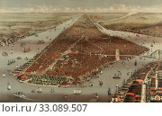 The City of New York, United States of America. From a Currier & Ives chromolithograph dated 1884. (2018 год). Редакционное фото, фотограф Classic Vision / age Fotostock / Фотобанк Лори